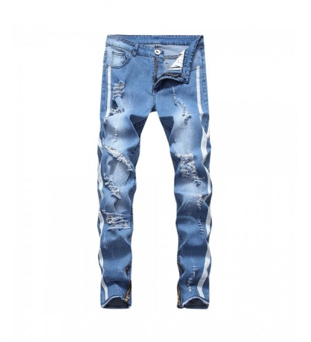 Leg Zipper Embellished Destroyed Jeans