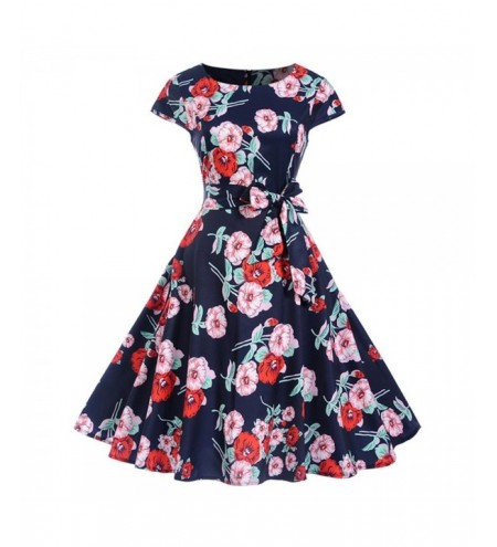 Belted Floral Print Cap Sleeve Flare Dress