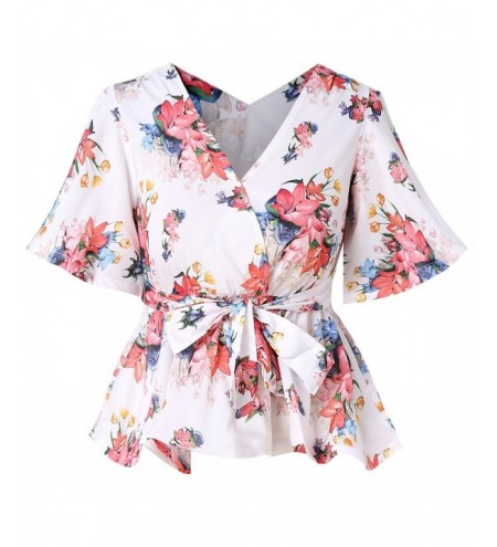 Plus Size V Neck Floral Print Blouse