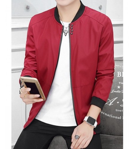 Stand Collar Lightweight Solid Color Jacket