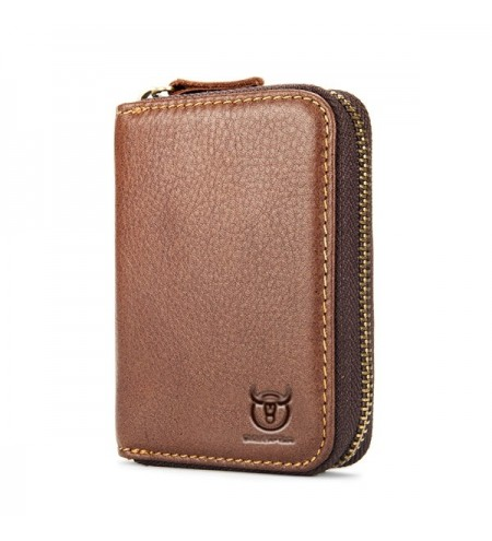 BULLCAPTAIN Leisure Zipper Around Genuine Leather Card Holder for Men
