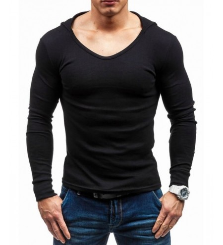 Slim Fit Solid Color Hooded T-shirt