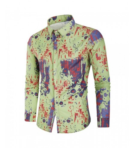Covered Button Painting Splatter Print Shirt
