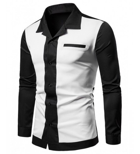 Color Block Faux Chest Pocket Shirt