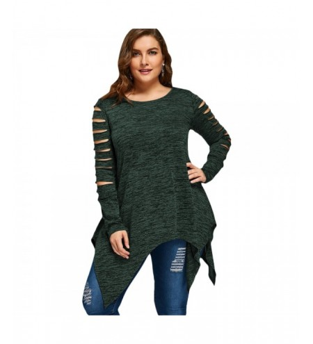 Plus Size Marled Ripped Sleeve Handkerchief Top