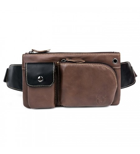 BULLCAPTAIN Multifunctional Leather Waist Bag for Men