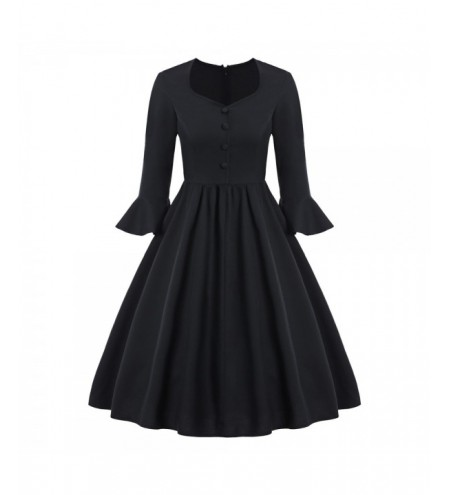 Sweetheart Neck Buttoned 50s Dress