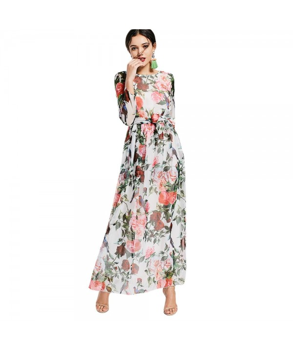 Long Sleeve Floral Belted Maxi Dress