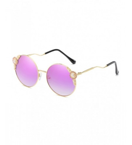 Vintage Faux Pearl Inlaid Bent Legs Round Sunglasses