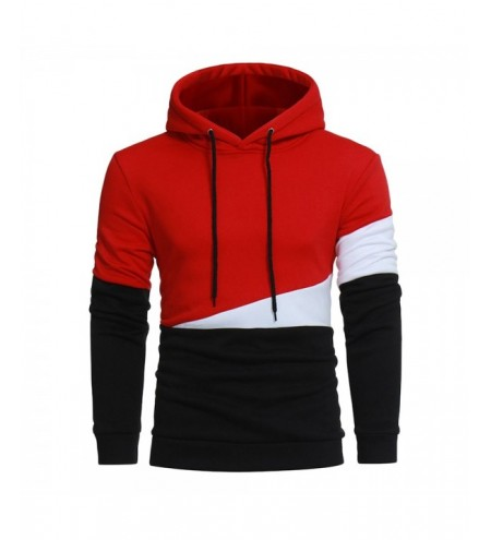 Drawstring Color Block Panel Fleece Pullover Hoodie
