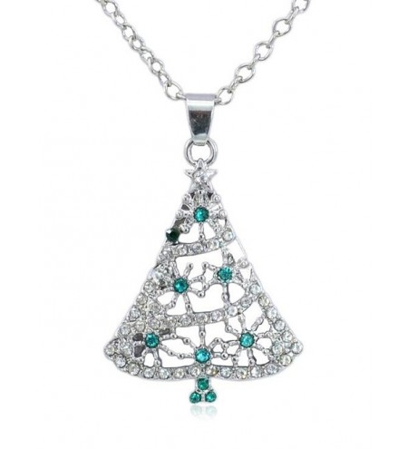 Shiny Rhinestone Christmas Tree Chain Necklace