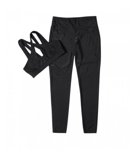 Women Fitted Yoga Sports Suit Crop Top Long Pant Solid Color Sportswear