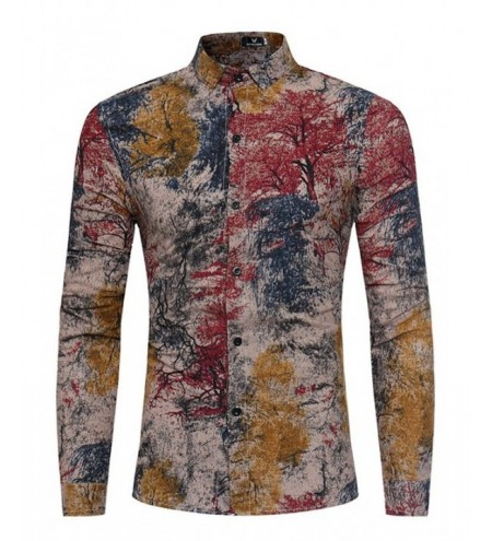 Casual Abstract Printing Long Sleeve Shirt for Men