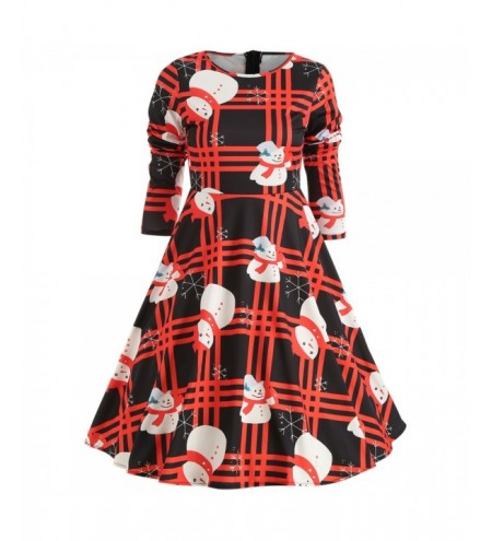 Round Collar Long Sleeve Stripe Christmas Print A-line Women Dress