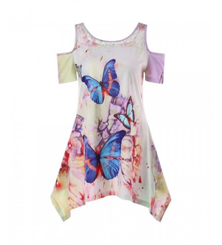 Cold Shoulder Butterfly Print Lace Panel T-shirt
