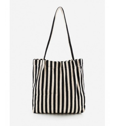 Stripe Print Canvas Tote Bag