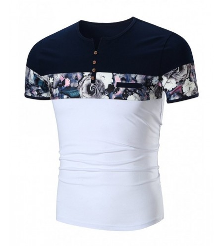Rose Print Panel Faux Pocket Henley T-Shirt