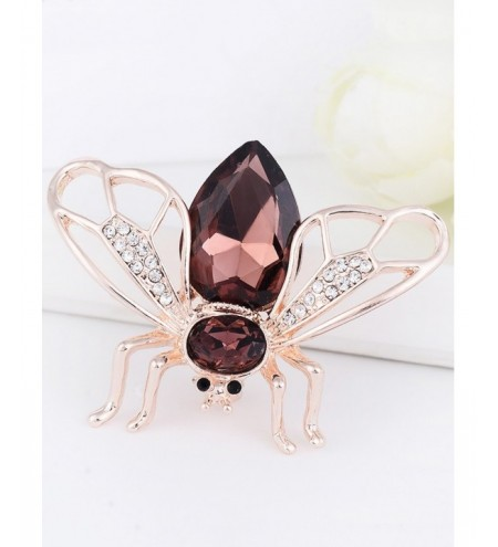 Faux Gem Embellished Cicada Shape Alloy Brooch
