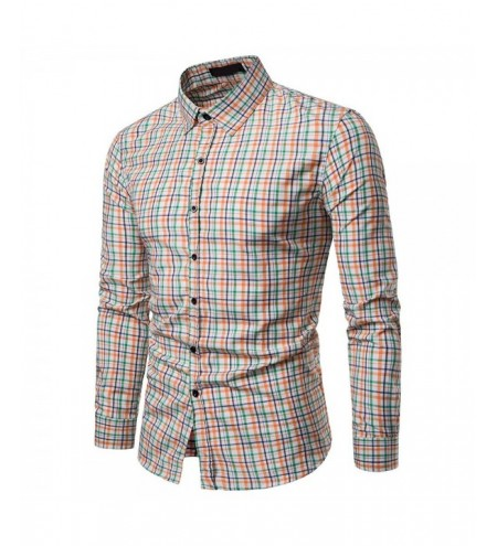 Men Plaid Casual Long Sleeve Shirt Soft Slim Fit Style Man Clothes