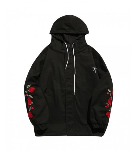 Zip Fly Flower Embroidery Hooded Jacket