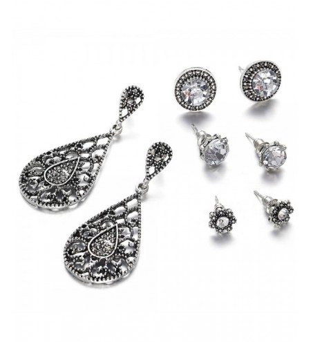 Hollow Out Water Drop Flora Earrings Set