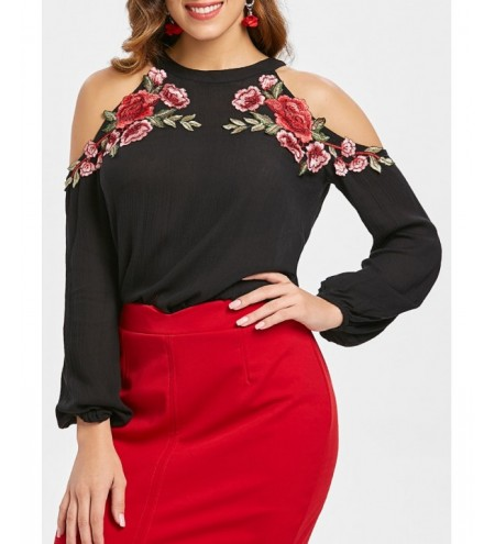 Open Shoulder Keyhole Back Blouse with Embroidery