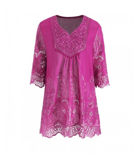 V Neck Embroidered Plus Size Tunic Top