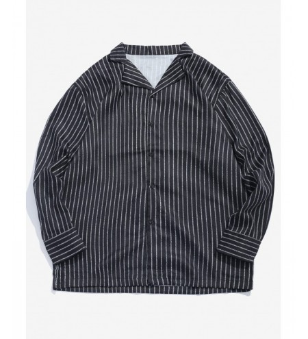 Classic Striped Notched Lapel Collar Long Sleeve Shirt