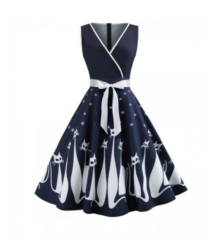 Hepburn Vintage Series Women Dress Spring And Summer V-Neck Halloween Cat Printing Design Sleeveless Belt Corset Retro Dress