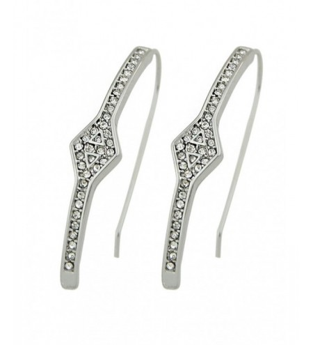 Faux Diamond Hook Drop Earrings