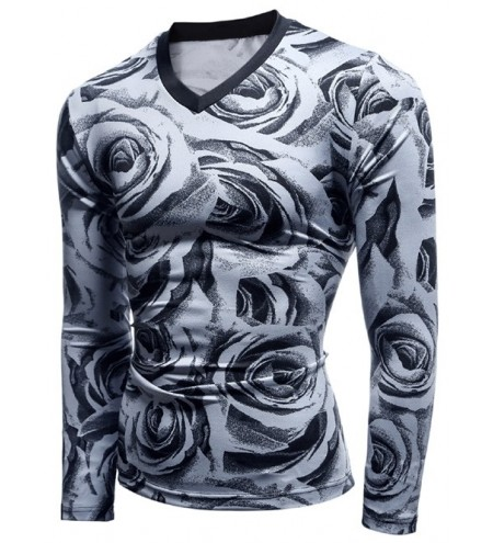 Rose Print Long Sleeve V Neck T Shirt