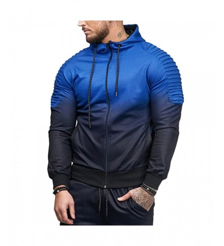 Hooded Collar Long Sleeve Gradient Color Pocket Men Sport Hoodie