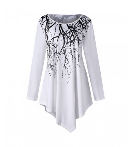 Plus Size Branch Print Tunic Asymmetrical Top