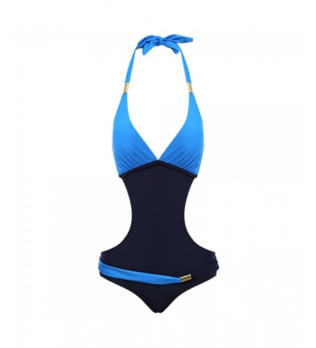 Sexy Halter Tie Backless Color Blocking Women Swimsuit
