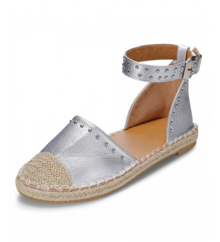 Round Toe Rivet Grass Weaving Flat Shoes Fisherman Sandal for Women
