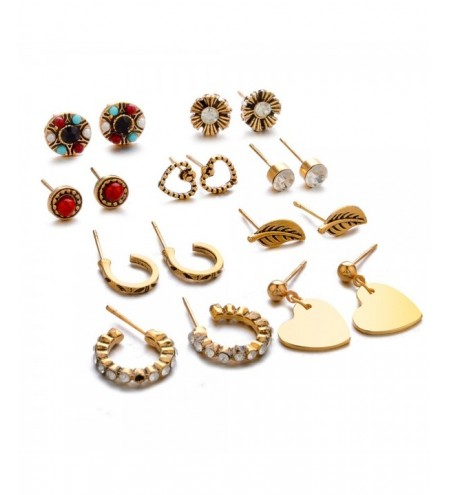 9-PIECE Set with Diamond Leaf Heart-Shaped Earring for Women'S Fashion