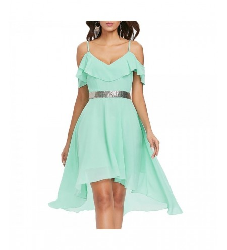 Flounce Open Shoulder Asymmetrical Chiffon Dress