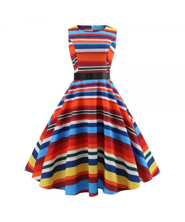 Striped Colorful Sleeveless Fit and Flare Dress