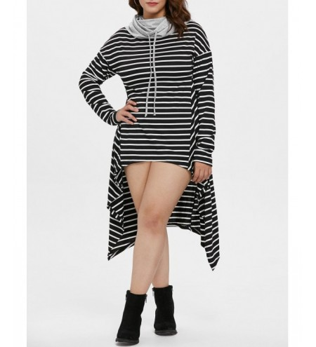 Plus Size Drawstring Striped High Low Dress