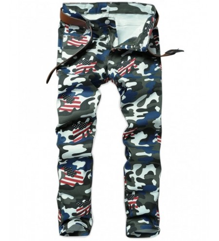 Camo American Flag Inspired Straight Jeans