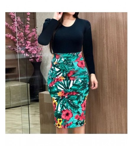 2019 Summer Fashion Knit Round Neck Print Pencil Skirt Long Dress