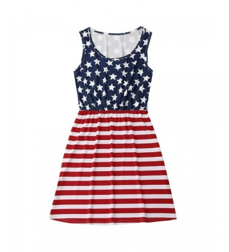 Sleeveless Patriotic American Flag Dress