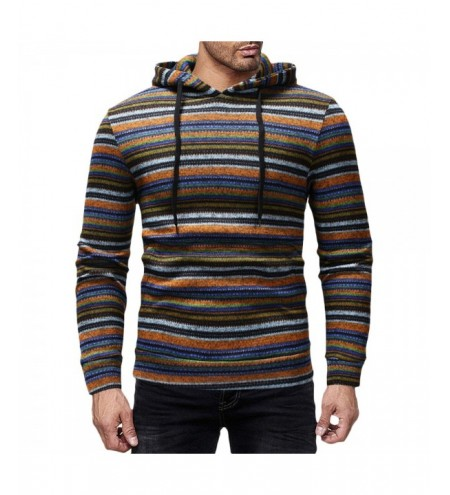 Stripes Drawstring Long Sleeve Tight Cuff Men Knitted Sweater Pullover Hoodie