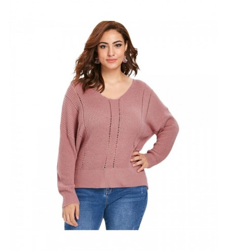 Plus Size V Neck Openwork Insert Slim Fit Sweater
