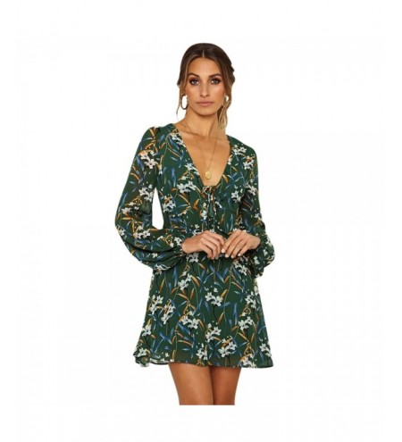 Plunge Neck Long Sleeve Floral Print Tied Women Mini Dress