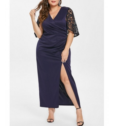 Front Slit Plus Size Lace Sleeve Maxi Dress