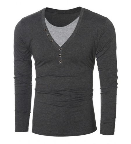 Button Embellished Round Neck Long Sleeves T-Shirt