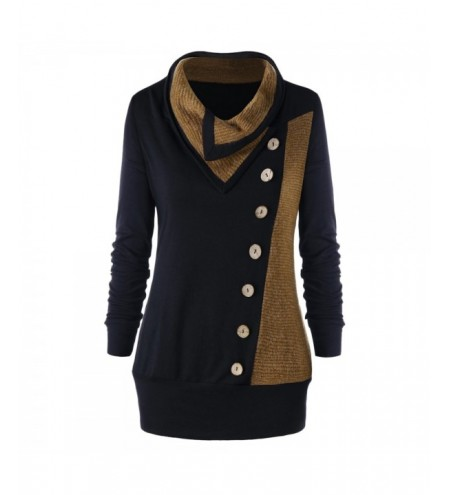 Plus Size Heap Collar Tunic Sweatshirt with Buttons
