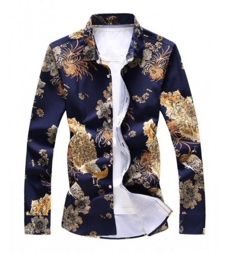 Peacock and Flower Print Casual Shirt