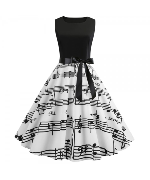 Sleeveless Note Boat Neck Vintage Polka Dot Printed Pleated Swing Bowknot Dress